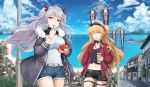 2girls admiral_hipper_(azur_lane) alternate_costume antenna_hair azur_lane bangs bk201 blonde_hair blush breasts brown_hair casual choker crop_top cup eyebrows_visible_through_hair floating_hair green_eyes hair_between_eyes hair_ribbon hat highres holding holding_cup large_breasts long_hair looking_at_viewer midriff multicolored_hair multiple_girls navel one_eye_closed outdoors peaked_cap prinz_eugen_(azur_lane) red_ribbon redhead ribbon shorts silver_hair small_breasts streaked_hair swept_bangs tongue tongue_out two_side_up very_long_hair