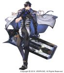 1boy aiguillette black_footwear black_gloves black_hair black_pants company_name crow_(king's_raid) dated elbow_gloves frown full_body gloves hair_over_one_eye highres holding holding_weapon jacket jacket_on_shoulders king's_raid male_focus official_art pants simple_background solo vest violet_eyes weapon white_background white_jacket