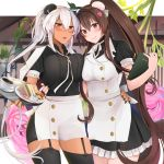 2girls :o absurdres apron asymmetrical_docking black_dress black_legwear black_nails blush breast_press breasts brown_eyes brown_hair bun_cover coffee coffee_cup collared_apron commentary cowboy_shot cup dark_skin disposable_cup dress flower food garter_straps glasses hair_bun hair_ornament headgear highres holding holding_menu holding_tray kantai_collection large_breasts long_hair looking_at_viewer maid multiple_girls musashi_(kantai_collection) neck_ribbon open_mouth plate platinum_blonde_hair ponytail puffy_short_sleeves puffy_sleeves red_eyes remodel_(kantai_collection) ribbon sandwich semi-rimless_eyewear short_sleeves silver-framed_eyewear smile thigh-highs tray twintails under-rim_eyewear very_long_hair waist_apron white_ribbon yamato_(kantai_collection) yunamaro
