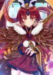 1girl absurdres bangs benienma_(fate/grand_order) bird blush brown_hair commentary_request eyebrows_visible_through_hair fate/grand_order fate_(series) gu_li hat highres japanese_clothes kimono long_hair long_sleeves looking_at_viewer low_ponytail parted_bangs red_eyes redhead smile solo wide_sleeves