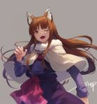 1girl ;d animal_ears bangs bow brown_hair capelet commentary_request eyebrows_visible_through_hair fangs fur-trimmed_capelet fur_trim grey_background highres holo long_hair long_sleeves looking_at_viewer nail_polish one_eye_closed open_mouth pink_nails purple_shirt purple_skirt red_bow red_eyes shirt signature simple_background skirt smile solo spice_and_wolf ttnap very_long_hair white_capelet wolf_ears