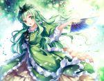 1girl dress fan green_eyes green_hair head_wreath hichou kayano_mihana leaf leaves_in_wind long_hair original smile solo touhou white_names_spoiled_past wreath