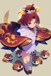 1girl animal_ears apron benienma_(fate/grand_order) bird cis05 commentary_request fate/grand_order fate_(series) from_above full_body grey_background hat long_sleeves mouse_ears red_eyes redhead short_hair sparrow standing twitter_username wide_sleeves