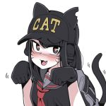 1girl animal_hat backpack bag black_gloves black_hair blush cat_hat cat_tail ear_protection english_text fang gloves grey_hair hat heart heart-shaped_pupils kare looking_at_viewer nose_blush original paw_pose school_uniform serafuku solo symbol-shaped_pupils tail whisker_markings