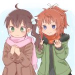 2girls bangs black_sweater blush brown_coat brown_hair closed_mouth coat eyebrows_visible_through_hair fringe_trim fur-trimmed_jacket fur_trim green_eyes green_jacket hair_between_eyes hair_ornament hair_ribbon hands_together hands_up jacket koshigaya_natsumi long_hair long_sleeves multiple_girls niizato_aoi non_non_biyori open_clothes open_jacket orange_scarf own_hands_together pink_scarf ponytail ribbon scarf shika_(s1ka) side_ponytail sleeves_past_wrists smile sweater upper_body v-shaped_eyebrows white_ribbon