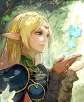 1girl absurdres armor blonde_hair breastplate cape circlet closed_mouth deedlit elf flower forest green_eyes highres light_rays lily_(flower) long_hair nature novelia outdoors pointy_ears record_of_lodoss_war smile solo spirit white_flower