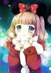1girl :o bangs blue_eyes blush bow brown_hair coat commentary_request eyebrows_visible_through_hair flying_sweatdrops hair_bow hands_up higanbana_no_saku_yoru_ni kusunoki_midori long_hair long_sleeves mickey_mouse_ears parted_lips polka_dot polka_dot_bow pom_pom_(clothes) red_bow red_coat sakurazawa_izumi scarf sleeves_past_wrists solo upper_body white_bow white_scarf