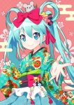 1girl animal animal_on_head aqua_eyes aqua_hair asa_no_ha_(pattern) bell bow commentary egasumi eyebrows_visible_through_hair floral_print foreshortening fuusen_neko hair_between_eyes hair_bow hair_ornament hair_rings hatsune_miku highres japanese_clothes jingle_bell kanzashi kikkoumon kikumon kimono kimono_skirt long_hair looking_at_viewer mouse nengajou new_year obiage obijime on_head outstretched_arm outstretched_hand pale_skin pink_background seigaiha smile solo tassel twintails unmoving_pattern upper_body very_long_hair vocaloid wide_sleeves