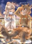 2girls :d absurdres alpaca_ears alpaca_suri_(kemono_friends) animal_ears arm_up artist_logo bangs belt blue_eyes bodystocking bow bowtie breast_pocket brown_eyes brown_hair buttons capybara_(kemono_friends) capybara_ears clouds collared_shirt commentary_request extra_ears eyebrows_visible_through_hair fur-trimmed_sleeves fur_scarf fur_trim hair_bun hair_over_one_eye hands_up highres horizontal_pupils kemono_friends knees_together_feet_apart legwear_under_shorts light_brown_hair long_sleeves medium_hair multicolored_hair multiple_girls open_mouth outdoors outstretched_leg pantyhose pocket railing scarf shirt shorts sidelocks sitting sky smile soles sparkle squatting star_(sky) starry_sky suspender_shorts suspenders thin_(suzuneya) toes towel towel_on_head twilight twitter_username two-tone_hair water wet wet_legwear