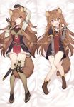 1girl :d animal_ear_fluff animal_ears arm_up bed_sheet between_legs boots breasts brown_footwear brown_gloves brown_hair byulzzimon collar dakimakura dress full_body gloves hair_ornament hand_up highres long_hair long_sleeves looking_at_viewer lying medium_breasts multiple_views on_back open_mouth raccoon_ears raccoon_girl raccoon_tail raphtalia red_eyes red_neckwear sheath smile strap tail tail_between_legs tate_no_yuusha_no_nariagari thigh-highs thigh_boots thighs very_long_hair watermark zettai_ryouiki