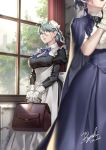 2girls apron blue_eyes breasts bun_cover eyewear_strap glasses green_hair high-waist_skirt highres large_breasts maid maid_apron maid_headdress multiple_girls original puffy_sleeves ryuki@maguro-ex skirt solo_focus victorian_maid window