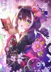 1girl animal_ears apple_caramel black_hair braid braided_bun bubble cat_tail droplet fang floral_print flower green_eyes hair_flower hair_ornament hair_stick highres japanese_clothes kimono kyaru_(princess_connect) multicolored_hair paw_print_pattern princess_connect! princess_connect!_re:dive skin_fang streaked_hair tail upper_body