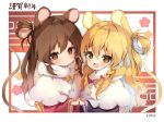 2020 2girls :o animal_ears bangs blonde_hair blush bow braid brown_eyes brown_hair capelet commentary_request eyebrows_visible_through_hair hair_between_eyes hair_bow hakurei_reimu kemonomimi_mode kirisame_marisa long_hair looking_at_viewer mouse_ears mouse_tail multiple_girls no_hat no_headwear parted_lips pink_bow piyokichi single_braid tail touhou translation_request upper_body white_capelet
