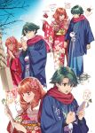 1boy 1girl alm_(fire_emblem) alternate_costume amazake_(drink) celica_(fire_emblem) closed_eyes closed_mouth duma_(fire_emblem) ema fire_emblem fire_emblem_echoes:_shadows_of_valentia flower green_eyes green_hair hair_flower hair_ornament highres japanese_clothes kimono long_hair long_sleeves mila_(fire_emblem) misu_kasumi obi omamori open_mouth red_eyes red_scarf redhead sash scarf short_hair wide_sleeves