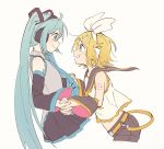 2girls aqua_eyes aqua_hair aqua_neckwear bangs bare_shoulders belt black_collar black_skirt black_sleeves blonde_hair bow collar commentary crop_top cropped_legs detached_sleeves from_side grey_shirt grin hair_bow hair_ornament hairclip hatsune_miku headphones highres holding_hands kagamine_rin light_blush long_hair looking_at_another m0ti midriff multiple_girls necktie sailor_collar school_uniform shirt short_hair short_shorts shorts shoulder_tattoo skirt sleeveless sleeveless_shirt smile swept_bangs tattoo twintails upper_body very_long_hair vocaloid white_bow white_shirt yuri