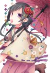 1girl bangs black_hair boots brown_footwear brown_kimono dango eyebrows_visible_through_hair floral_print flower food food_in_mouth hair_flower hair_ornament hakama highres holding holding_umbrella japanese_clothes kimono kuroi_(liar-player) long_hair mouth_hold oriental_umbrella original pink_hakama print_kimono red_flower red_umbrella ribbon-trimmed_sleeves ribbon_trim sanshoku_dango short_sleeves solo standing standing_on_one_leg umbrella violet_eyes wagashi white_background wide_sleeves