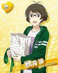 akizuki_ryou brown_eyes brown_hair character_name glasses idolmaster idolmaster_side-m jacket short_hair