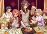 2girls 5boys alexander_(fate/grand_order) alternate_hairstyle apron archer artoria_pendragon_(all) blonde_hair blush bow braid brown_eyes brown_hair caster_(fate/zero) casual chopsticks cooking cu_chulainn_(fate)_(all) dumpling eating fate/grand_order fate/stay_night fate/zero fate_(series) food frown glasses hair_bow highres jeanne_d'arc_(fate)_(all) jiaozi lalatia-meai lancer long_hair lord_el-melloi_ii multiple_boys multiple_girls ponytail red_eyes redhead saber sidelocks single_braid squiggle sweater_vest violet_eyes waver_velvet