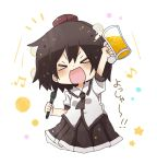 >_< 1girl :d alcohol bangs beamed_eighth_notes beer beer_mug black_hair black_neckwear black_skirt blush brown_headwear closed_eyes collared_shirt commentary_request cup eighth_note facing_viewer hat highres holding holding_cup holding_microphone microphone mini_hat musical_note open_mouth pleated_skirt shameimaru_aya shirt short_sleeves skirt smile solo star tokin_hat totoharu_(kujirai_minato) touhou translation_request v-shaped_eyebrows white_background white_shirt xd