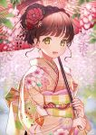 1girl :d bangs blurry blurry_background blush braid brown_eyes checkered commentary_request day depth_of_field eyebrows_visible_through_hair floral_print flower hair_flower hair_ornament highres holding holding_umbrella japanese_clothes kimono long_sleeves obi oli open_mouth oriental_umbrella original outdoors petals pink_kimono print_kimono red_flower redhead sash short_hair short_ponytail smile solo tareme umbrella upper_body wisteria