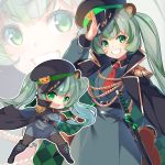 1girl :d aiguillette animal_ears animare bear_ears belt black_coat boots chibi dress epaulettes glint green_eyes green_hair grin hat highres hinokuma_ran jacket_on_shoulders katana kokka_han long_hair long_sleeves looking_at_viewer multicolored_hair multiple_views necktie open_mouth pantyhose peaked_cap salute sheath sheathed short_necktie smile streaked_hair sword twintails v-shaped_eyebrows virtual_youtuber weapon wing_collar zoom_layer