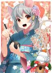 1girl :d animal animal_ears bangs blue_kimono blush bowl brown_eyes chinese_zodiac chopsticks eyebrows_visible_through_hair floral_background floral_print flower grey_hair hair_between_eyes hair_flower hair_ornament hairclip highres holding holding_bowl holding_chopsticks japanese_clothes kagami_mochi kimono long_sleeves looking_at_viewer mizuki_eiru_(akagi_kurage) mouse mouse_ears mouse_girl mouse_tail obi open_mouth original pink_flower print_kimono purple_flower sash smile solo tail translation_request upper_teeth wide_sleeves year_of_the_rat