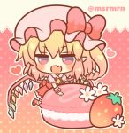 1girl :d ascot blonde_hair blush bow chibi commentary_request fang flandre_scarlet flower food fruit hat hat_bow heart long_hair macaron marshmallow_mille mob_cap one_side_up open_mouth pink_headwear polka_dot polka_dot_background puffy_short_sleeves puffy_sleeves red_bow red_eyes red_footwear red_skirt red_vest ringlets shoes short_sleeves skirt smile solo standing standing_on_one_leg strawberry striped striped_legwear touhou twitter_username vest white_flower wrist_cuffs yellow_neckwear