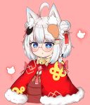 1girl ahoge animal_ear_fluff animal_ears bailingxiao_jiu bell black_bow blue_eyes blue_hair blush bow braid brown_bow brown_dress capelet chestnut_mouth cropped_torso double_bun dress fox_ears fox_hair_ornament fur-trimmed_capelet fur_trim glasses hair_ribbon heart heart-shaped_pupils highres jingle_bell mouse_hair_ornament multicolored_hair original parted_lips pink_background red-framed_eyewear red_bow red_capelet red_ribbon ribbon round_eyewear silver_hair simple_background solo streaked_hair symbol-shaped_pupils upper_body upper_teeth