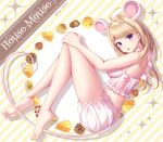 1girl ahoge akamatsu_kaede alternate_costume animal_ears artist_name bangs bare_shoulders barefoot blonde_hair breasts cheese commentary_request danganronpa eyebrows_visible_through_hair food from_side hair_ornament highres large_breasts long_hair long_legs looking_at_viewer mouse_ears musical_note musical_note_hair_ornament nabekokoa new_danganronpa_v3 pink_shorts shorts tagme violet_eyes