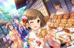 blush brown_hair dress green_eyes idolmaster_cinderella_girls_starlight_stage kimono maekawa_miku new_year short_hair smile wink