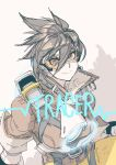 1girl brown_background brown_eyes brown_hair brown_jacket butcherboy closed_mouth goggles hair_between_eyes highres jacket medium_hair overwatch simple_background sketch sleeves_rolled_up smile solo tracer_(overwatch) zipper zipper_pull_tab