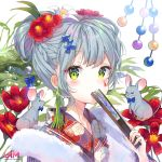 1girl alternate_costume alternate_hairstyle blush braid facepaint fan_to_mouth floral_print flower from_side girls_frontline green_eyes hair_between_eyes hair_bun hair_flower hair_ornament hairclip highres hk416_(girls_frontline) iron_cross japanese_clothes kimono looking_at_viewer mouse mouse_on_shoulder new_year purple_kimono red_flower silver_hair solo teardrop upper_body urim_(paintur) yukata
