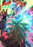 2boys abs blue_eyes blue_hair blurry bokeh broly_(dragon_ball_super) clenched_teeth depth_of_field dragon_ball dragon_ball_super_broly energy_ball energy_beam fighting fighting_stance fingernails fire from_above from_behind gogeta green_hair grin highres light_particles mattari_illust messy_hair molten_rock multicolored multiple_boys muscle outstretched_arm pectorals shirtless smile spiky_hair super_saiyan_blue super_saiyan_full_power teeth toned toned_male twitter_username volcano waistcoat wristband