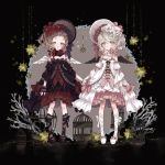 2girls angel_wings ankle_lace-up birdcage black_footwear black_legwear black_wings bonnet bow cage commentary_request cross-laced_footwear detached_collar detached_sleeves dress feathered_wings fingerless_gloves flower frilled_dress frilled_sleeves frills gloves gothic_lolita grey_eyes grey_hair hair_flower hair_ornament highres holding_hands lolita_fashion looking_at_viewer multiple_girls nobuyo_ninomiya one_side_up original overskirt pink_bow red_bow red_flower shoes short_hair siblings sisters sleeve_ribbon standing sweet_lolita twins white_flower white_footwear white_legwear white_wings wings