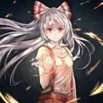 1girl bangs black_background bow breasts clenched_hand commentary_request fire floating_hair fujiwara_no_mokou hair_bow hand_up highres long_hair looking_at_viewer pants red_eyes red_pants shirt short_sleeves silver_hair small_breasts solo suspenders teardrop torottye touhou upper_body v-shaped_eyebrows white_bow white_shirt