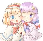 2girls ;) ;d alice_margatroid arnest bangs blonde_hair blue_bow blue_eyes blush bow bowtie capelet commentary_request crescent crescent_hair_ornament dress eyebrows_visible_through_hair frilled_capelet frilled_hairband frilled_sleeves frills hair_bow hair_ornament hairband holding_hands lolita_hairband long_hair long_sleeves looking_at_another multiple_girls no_hat no_headwear one_eye_closed open_mouth patchouli_knowledge purple_capelet purple_dress purple_hair red_bow red_hairband red_neckwear short_hair sidelocks simple_background smile touhou upper_body violet_eyes white_background white_capelet