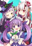 3girls blush commentary_request drill_hair hair_ornament hair_ribbon hat hololive long_hair looking_at_viewer maid_headdress maki_soutoki minato_aqua multiple_girls murasaki_shion nakiri_ayame one_eye_closed oni_horns open_mouth plant red_eyes ribbon smile twin_drills violet_eyes virtual_youtuber witch_hat yellow_eyes