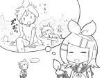 >_< ... 1girl =_= bangs blush bow buried chibi chibi_inset clone commentary detached_sleeves facing_viewer field greyscale hair_bow hair_ornament hairclip headphones holding imagining kagamine_len kagamine_rin leaning_forward looking_at_viewer monochrome moomlin neckerchief nude open_mouth sailor_collar shirt short_hair short_ponytail short_sleeves shoulder_tattoo sleeveless sleeveless_shirt smile spiky_hair sprout swept_bangs tattoo thought_bubble translated vocaloid white_background