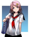 1girl arm_behind_back bag bangs blush border breasts duffel_bag eyebrows_visible_through_hair gradient gradient_background grin hair_ornament hairclip highres looking_at_viewer masao neckerchief nipples no_bra original outside_border over_shoulder parted_lips red_neckwear revision sailor_collar school_uniform see-through serafuku shirt short_hair short_sleeves small_breasts smile solo swept_bangs teeth upper_body wet wet_clothes white_border white_shirt