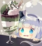 1girl bangs blue_eyes blunt_bangs blush bob_cut commentary cookie drooling food fruit grapes grey_background hair_ribbon highres ice_cream konpaku_youmu konpaku_youmu_(ghost) nikorashi-ka open_mouth parfait ribbon short_hair silver_hair simple_background smile solo sparkle touhou upper_body