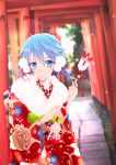 1girl aqua_eyes aqua_hair arrow bangs bell blurry blurry_background cherry_blossom_print commentary_request cowboy_shot floral_print fur-trimmed_kimono fur_trim furisode grass hair_between_eyes hair_ribbon hamaya holding_arrow japanese_clothes kimono light_particles long_sleeves looking_at_viewer new_year obi obijime parted_lips pom_pom_(clothes) red_kimono red_ribbon ribbon sash short_hair short_hair_with_long_locks sinon solo standing stone_walkway sword_art_online torii tree tsukimori_usako wide_sleeves