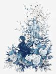 1other bamboo bouquet flower from_side highres japanese_clothes kimono ogura_mao original oversized_flowers oversized_object rose simple_background sitting smile solo white_background