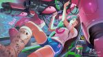 1girl artist_name bandage_on_face brown_hair cast d.va_(overwatch) headphones heart highres holographic_interface klyn knee_up korean_text leg_cast long_hair looking_at_viewer mecha meka_(overwatch) open_mouth overwatch reclining short_shorts shorts sitting tank_top thermos watermark web_address wire wrench