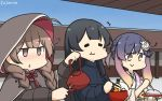 3girls agano_(kantai_collection) alternate_costume black_capelet black_dress black_hair black_jacket blush braid brown_eyes brown_hair capelet closed_eyes coat dress eating eyebrows_visible_through_hair gradient_hair hair_ribbon hamu_koutarou highres hood hooded_capelet jacket japanese_clothes kantai_collection kimono long_hair long_sleeves looking_at_viewer multicolored_hair multiple_girls open_mouth orange_hair purple_hair ribbon shinshuu_maru_(kantai_collection) short_hair sidelocks tsushima_(kantai_collection) twin_braids violet_eyes winter_clothes winter_coat yukata