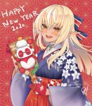 0w0_nyaaa 1girl 2020 alternate_costume animal_costume bangs blonde_hair blush checkered dark_skin elf eyebrows_visible_through_hair floral_print gloves hair_between_eyes highres hololive japanese_clothes kagami_mochi kintsuba_(flare_channel) long_hair new_year official_alternate_costume open_mouth orange_eyes panda_costume pointy_ears red_gloves shiranui_flare tongue upper_teeth virtual_youtuber