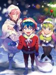 1girl 2boys ahoge arm_at_side asmodeus_alice bangs blue_gloves blue_hair blush boots christmas christmas_tree coat demon_horns demon_tail gift gloves green_hair green_headwear hat highres horns jewelry long_hair looking_at_viewer mairimashita!_iruma-kun manami_(aph-23) multiple_boys pantyhose pink_hair pocket pointy_ears red_eyes red_headwear red_nails sack snow snowing standing suzuki_iruma tail valac_clara violet_eyes