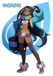 absurdres bag blue_eyes dark_skin drednaw duffel_bag gloves highres midriff poke_ball pokemon pokemon_(game) pokemon_swsh quokkalee rurina_(pokemon) single_glove toes