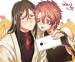 2boys alexander_(fate/grand_order) arm_around_shoulder bird black_hair blush bored brown_eyes brown_hair cellphone chicken fate/grand_order fate_(series) glasses lalatia-meai long_hair lord_el-melloi_ii male_focus multiple_boys older phone red_eyes redhead self_shot sidelocks smartphone sweater waver_velvet