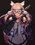 1girl :d absurdres animal_ear_fluff animal_ears arknights arms_up bangs bare_shoulders black-framed_eyewear black_background black_jacket blue_neckwear buckle character_request cowgirl_position dress eyebrows_visible_through_hair gloves goggles gradient_hair grey_dress hands_on_eyewear hiemal_(winter_crow) highres jacket long_sleeves multicolored_hair necktie open_clothes open_jacket open_mouth orange_hair purple_hair shoulder_cutout simple_background smile solo straddling tail violet_eyes white_gloves