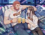 2boys beard beer_mug black_hair casual cheekbones cigarette confetti couch facial_hair fate/grand_order fate_(series) holding holding_cigarette lalatia-meai lord_el-melloi_ii male_focus multiple_boys one_eye_closed red_eyes redhead rider_(fate/zero) shirt sidelocks sitting t-shirt waver_velvet